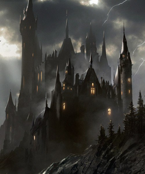 Dark fantasy castle stock illustration Illustration of